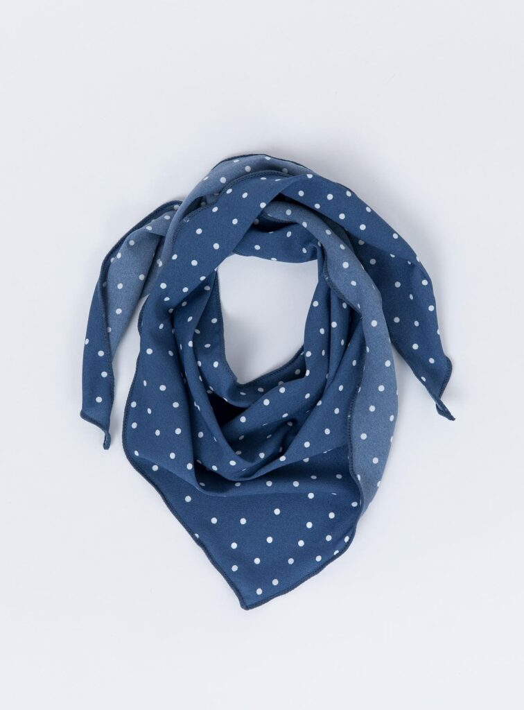 Blue scarf with white polka dots