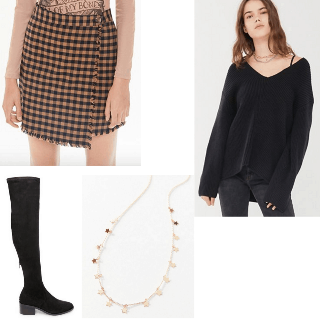 What to wear to meet with your advisor: Outfit set with plaid skirt, black sweater, black boots and gold necklace.