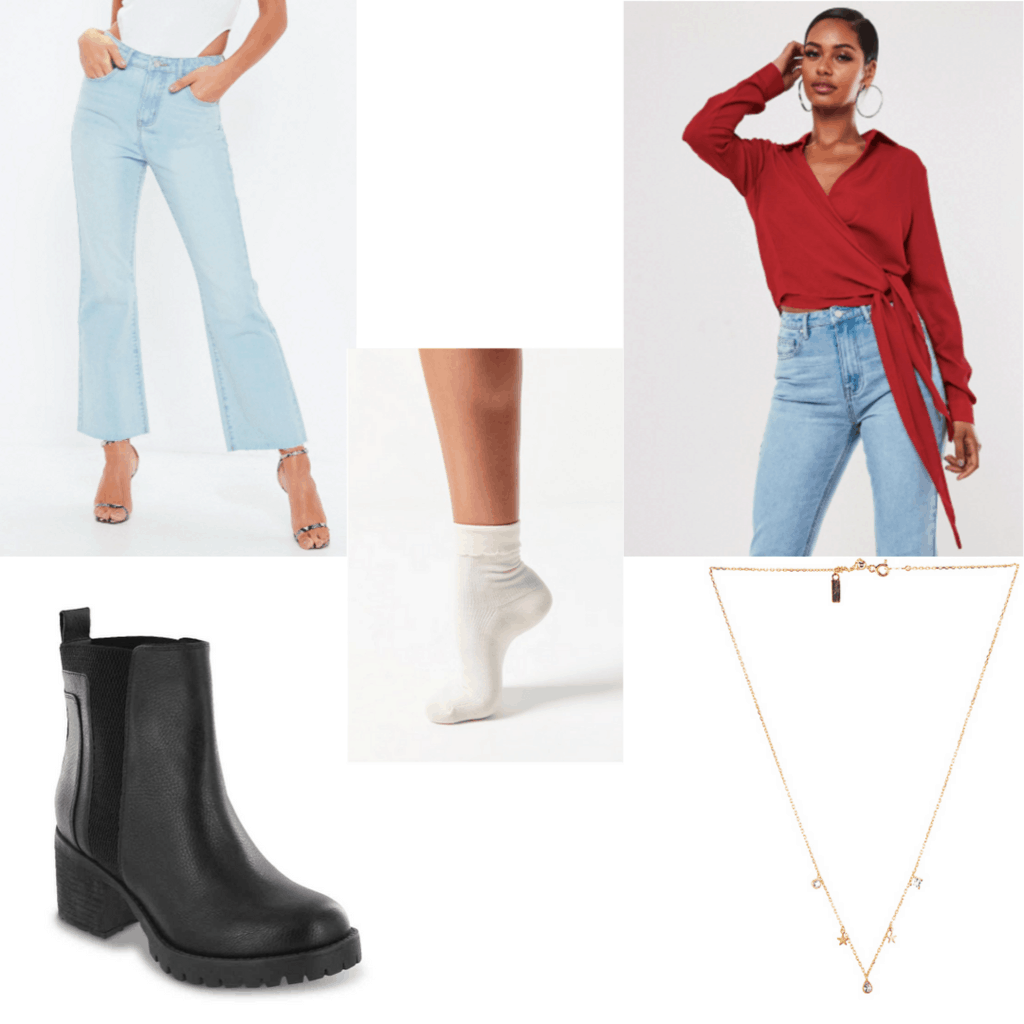Outfit set with blue jeans, red wrap top, white socks, black boots and gold necklace.