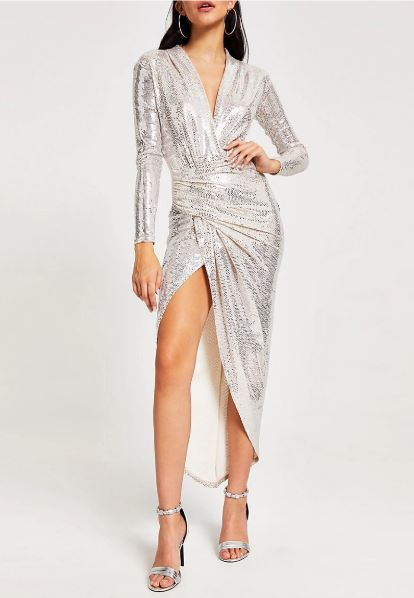 Silver wrap dress from River Island