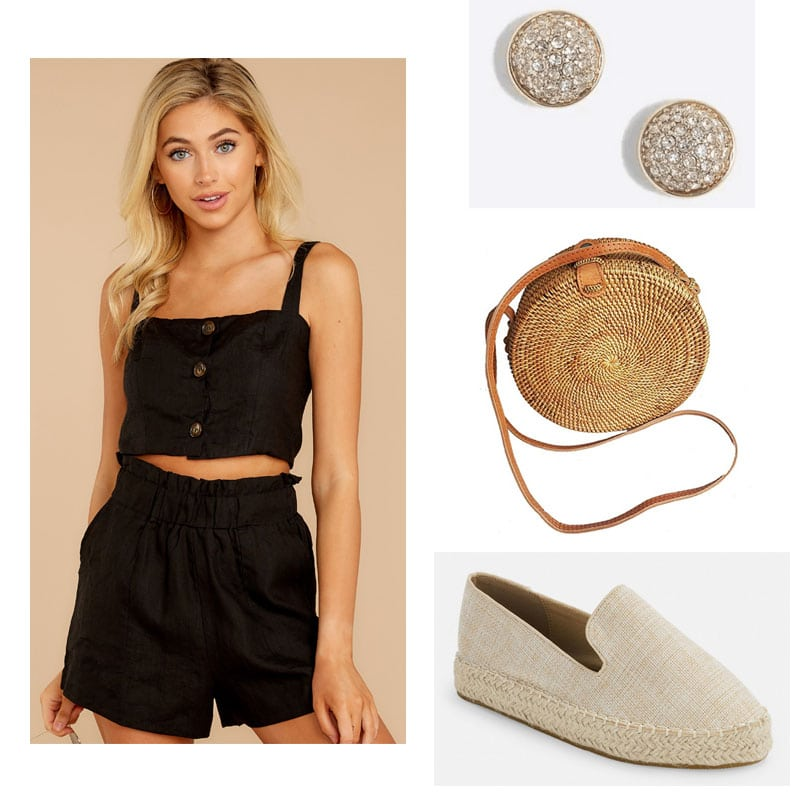 Sorority rush outfit for recruitment day 1 with black two piece set, stud earrings, woven crossbody bag, espadrilles