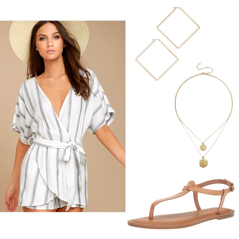 Sorority rush outfit 2 with striped romper, gold jewelry, and nude sandals