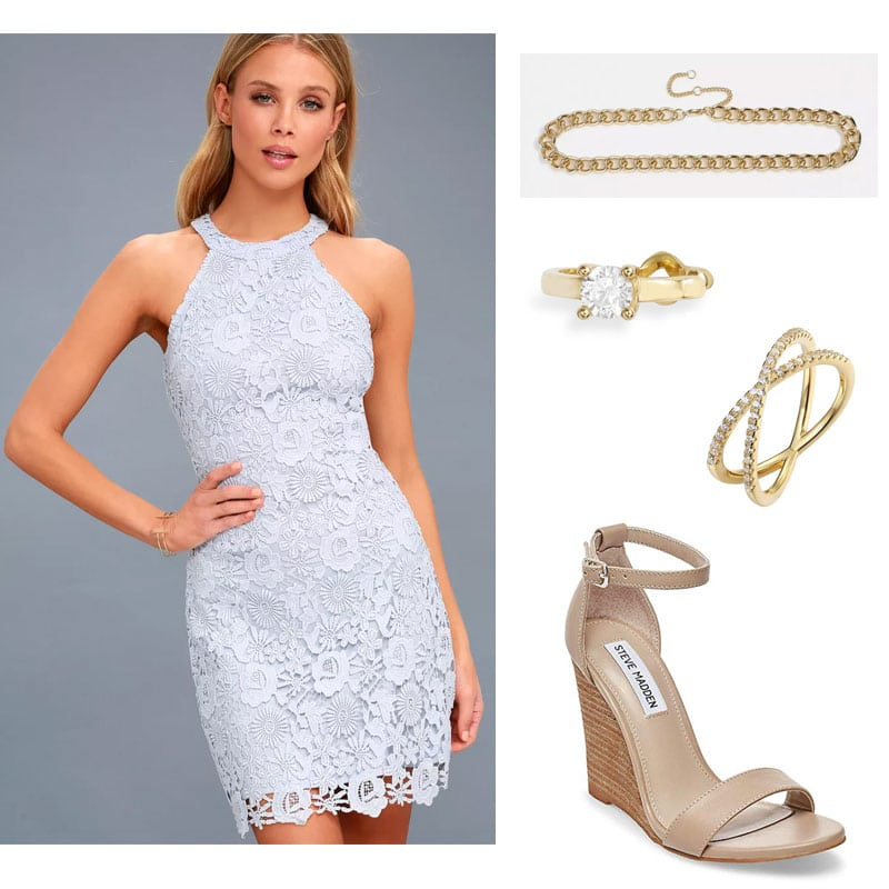 Sorority rush outfit for day 3 with lace dress, statement jewelry, neutral wedges