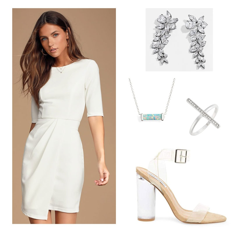 Sorority recruitment day 4 outfit with white dress, heels, necklace, ring, earrings