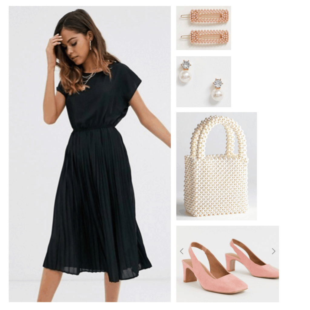 Outfit inspired by the movie Black Swan with black dress, pink shoes, pearl bag, pearl earrings