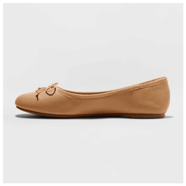 Cute flats for school - Tan Ballet Flat with Bow