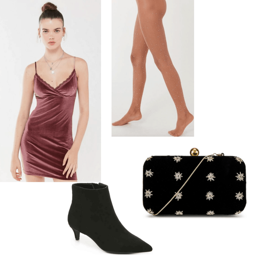 Outfit set with pink velvet dress, jeweled fishnets, black heels and black with stars clutch.
