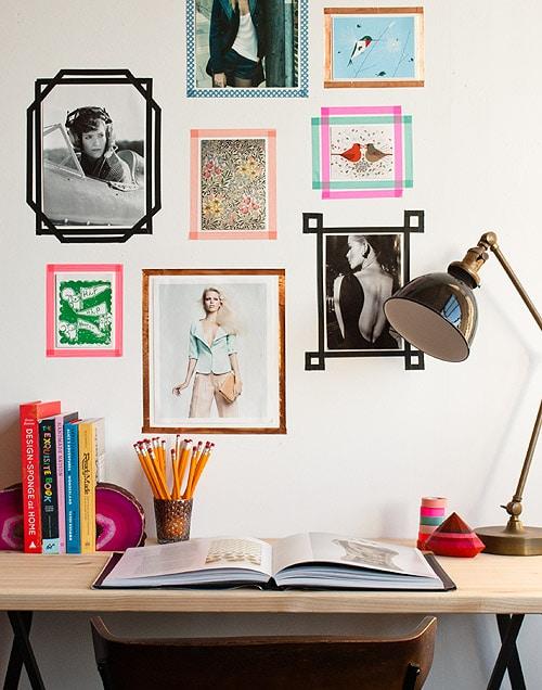 Dorm photo wall ideas - washi tape framing images
