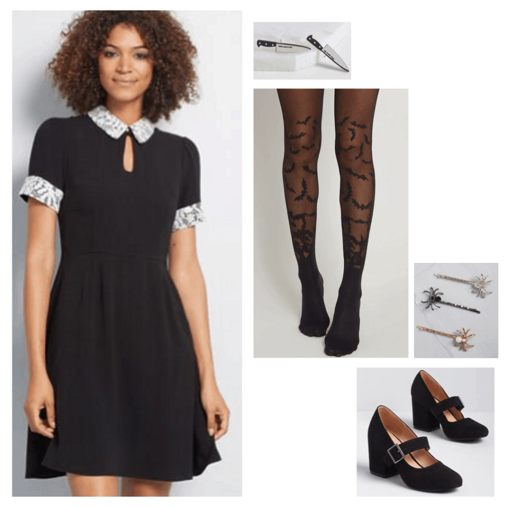 Outfit inspired by The Addams Family - white collar black dress, printed tights, knife earrings, mary jane shoes