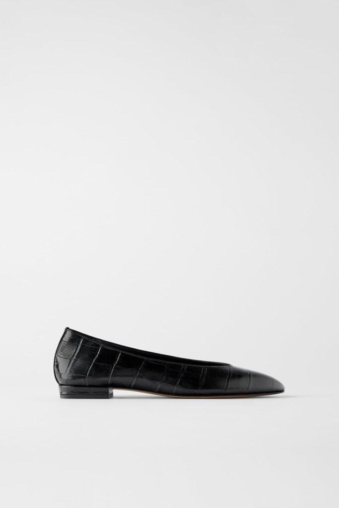 Black Croc-Embossed Ballet Flat