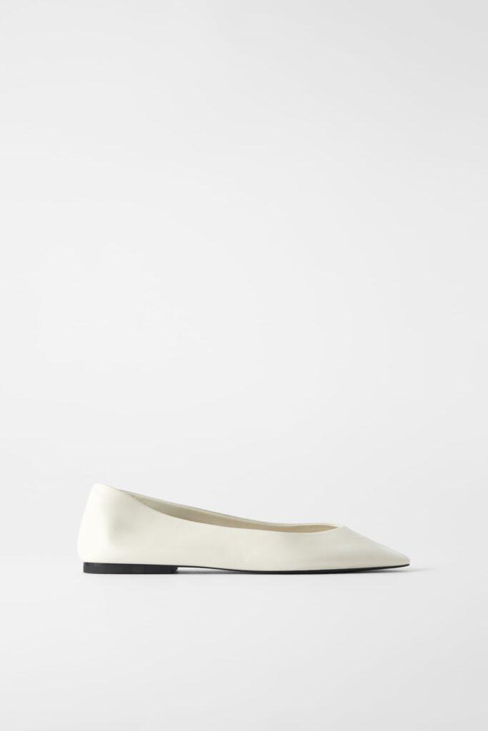 White Soft Leather Ballet Flat