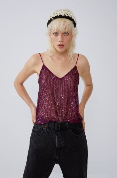 Red and pink sequin top