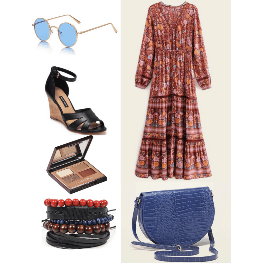 '70s fashion: Outfit with printed maxi dress, wedges, snakeskin bag, layered bracelets, eyeshadow