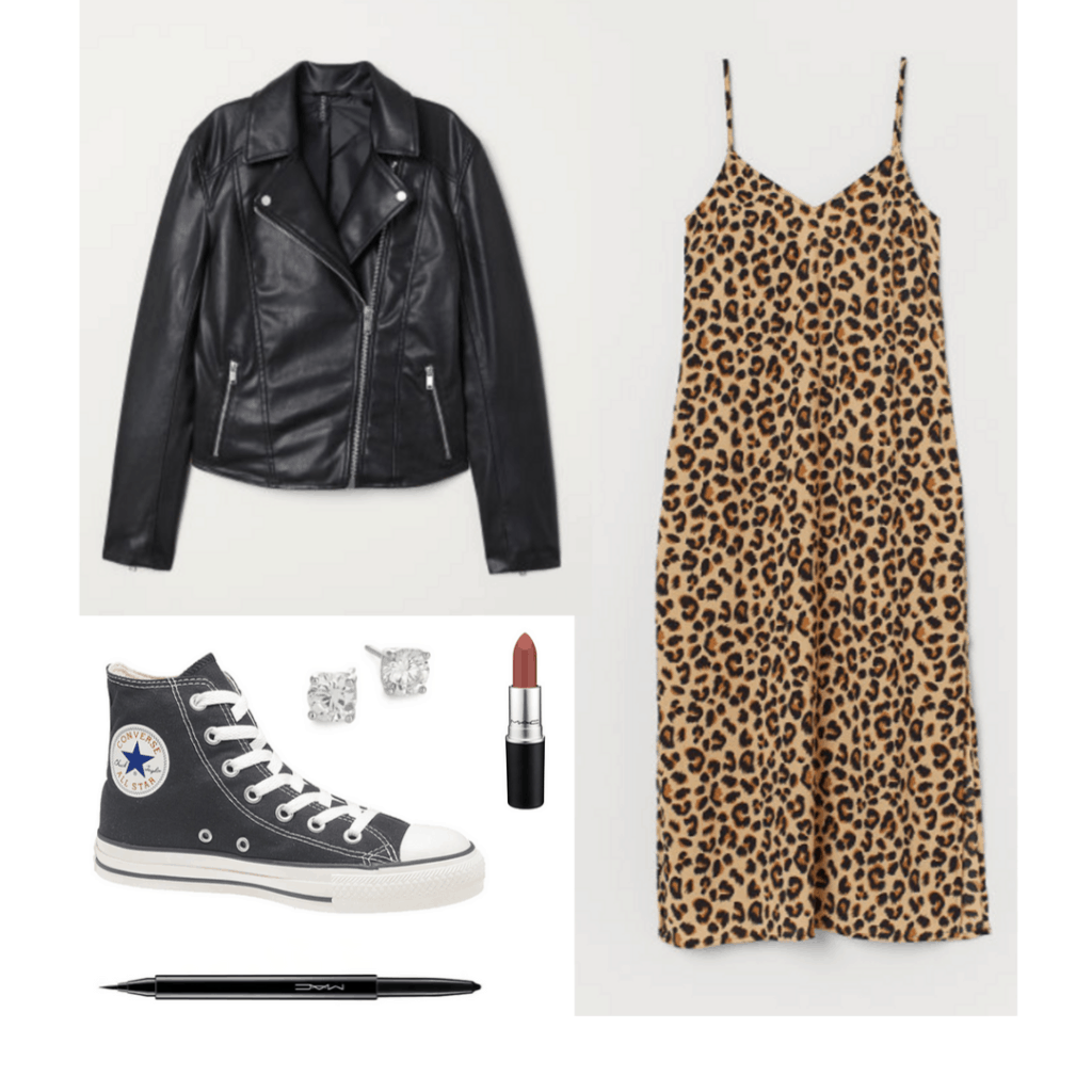 90s fashion: Outfit with leopard dress, eyeliner, black leather jacket