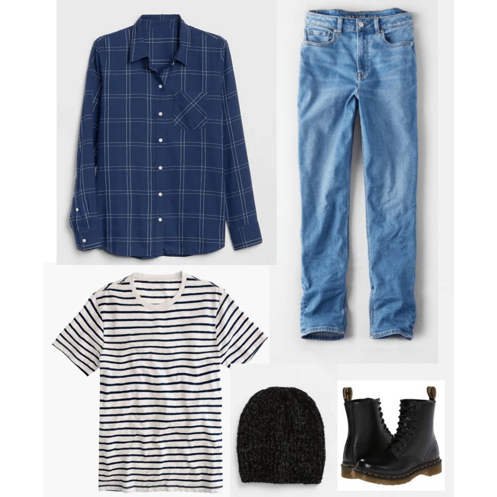 90s fashion: Outfit with striped tee, mom jeans, plaid shirt
