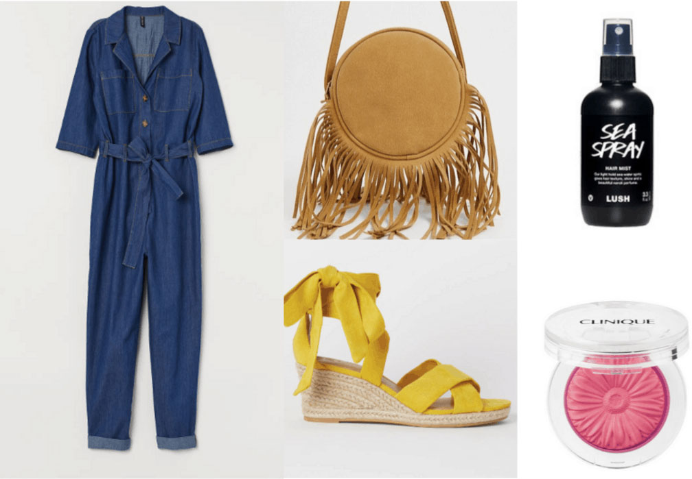 70s fashion outfit with denim jumpsuit, wedges, salt spray, fringe bag
