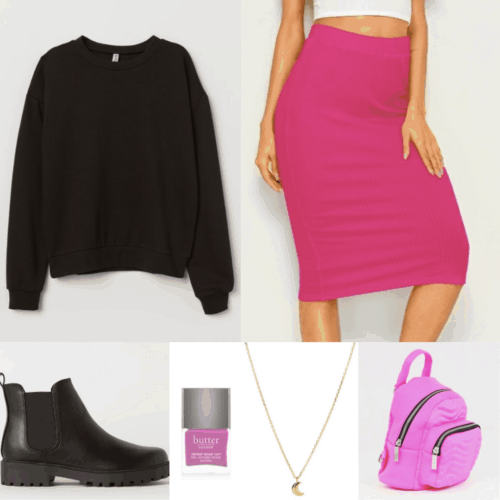 80s fashion outfit with neon pink skirt, black sweatshirt, ankle boots, mini backpack