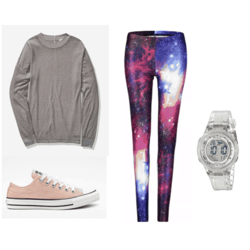 80s fashion - outfit with galaxy leggings, converse, jelly watch, oversized long sleeve shirt