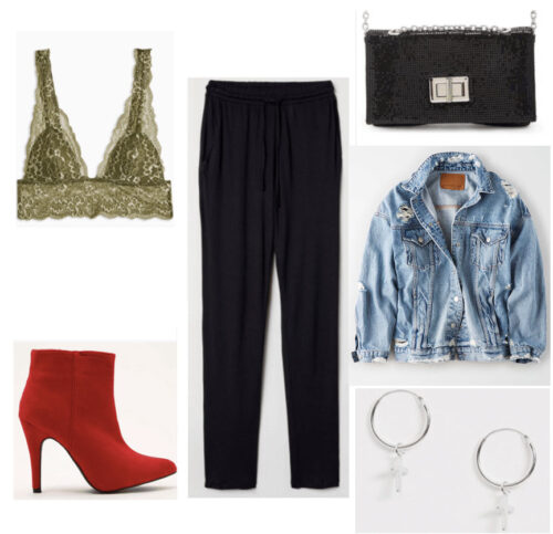 80s fashion - outfit with bralette, oversized trousers, ankle boots, denim jacket