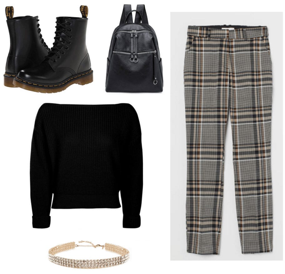 '90s fashion - outfit with plaid pants, off shoulder sweater, docs, choker