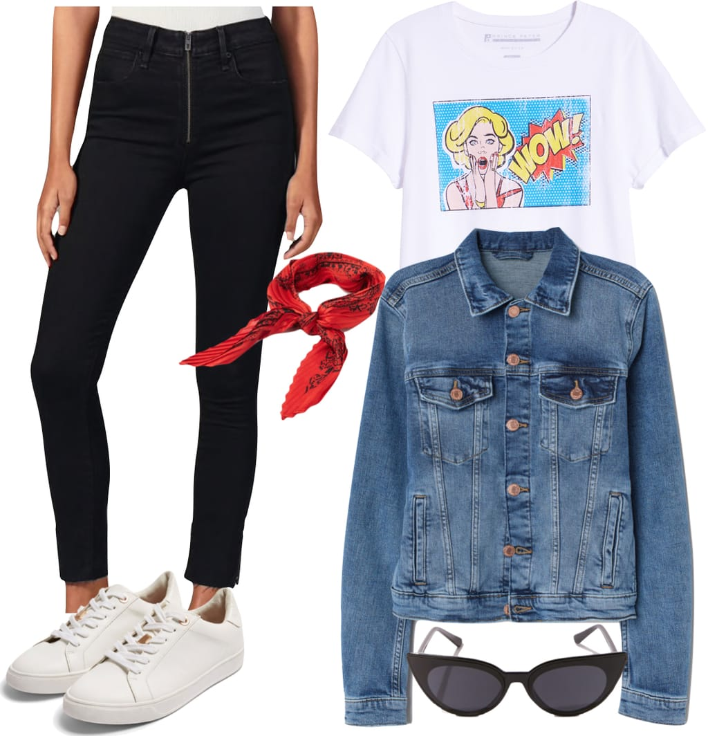 Alessandra Ambrosio Outfit: black zipper front skinny jeans, comic graphic print t-shirt, denim jacket, red bandana, black cat-eye sunglasses, and white low-top sneakers
