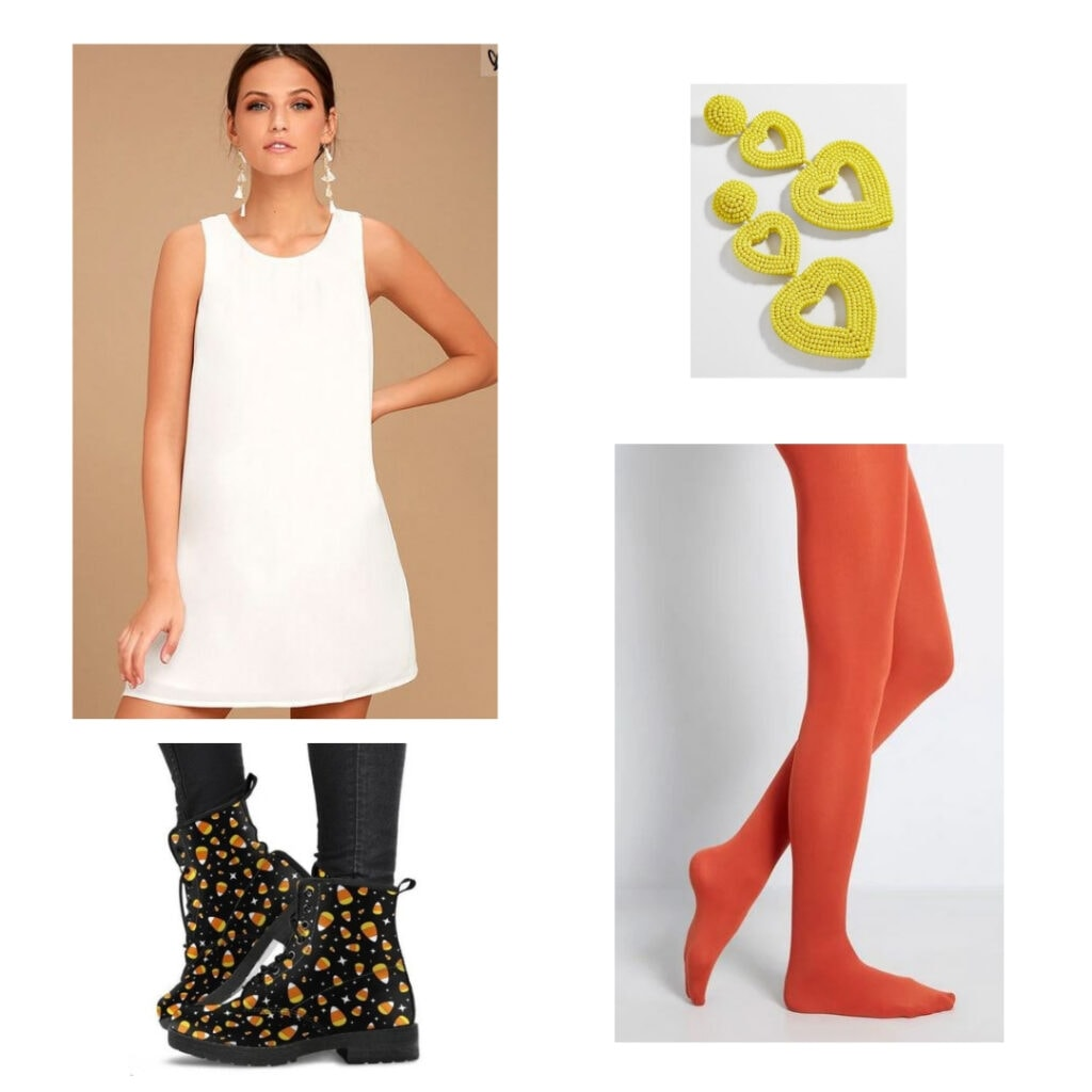 Candy corn outfit; white shift dress, yellow heart earrings, orange tights, candy corn pattern combat boots.