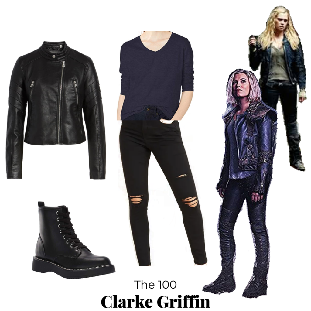 Clarke Griffin style - outfit inspired by Clarke from The One Hundred with leather jacket, ripped jeans, combat boots, black top