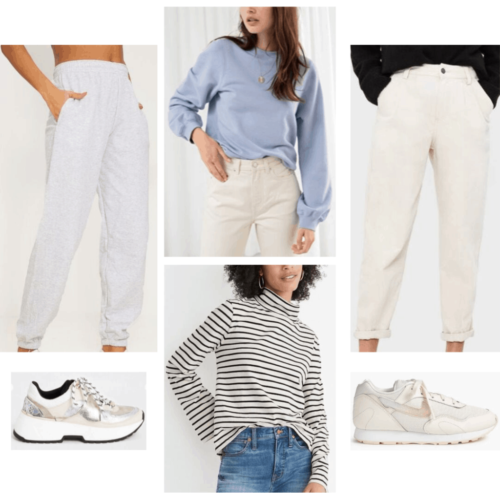 Outfits without jeans: Look with sweatpants, trousers, sweatshirt, turtleneck, sneakers
