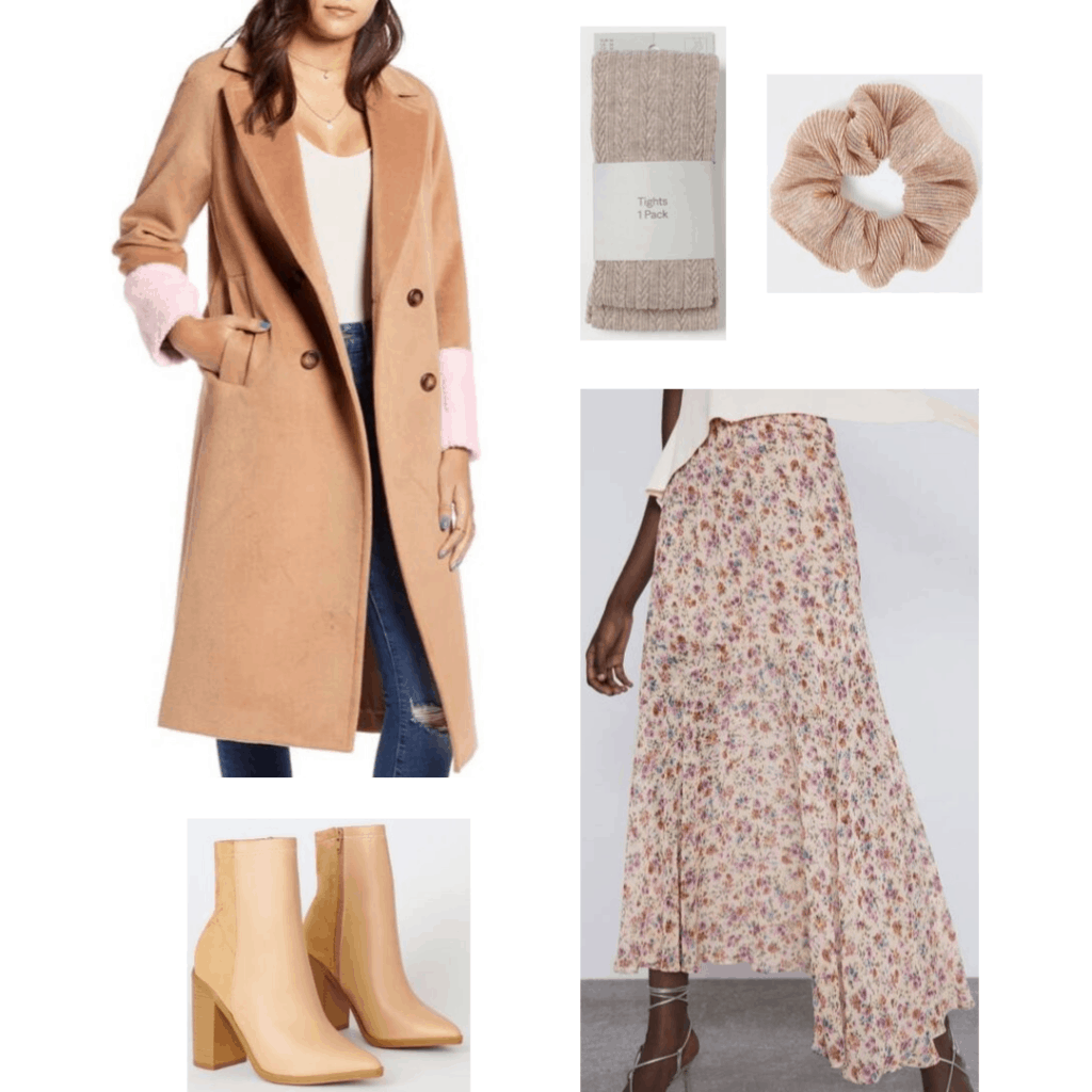 How not to wear jeans: Outfits without denim - floral skirt, ankle boots, scrunchie, coat