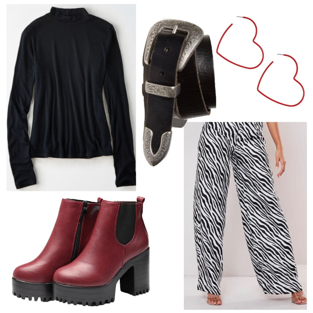 Outfits for fall activities: Going to a museum. Outfit with printed pants, turtleneck sweater, burgundy chunky boots, western belt, heart earrings
