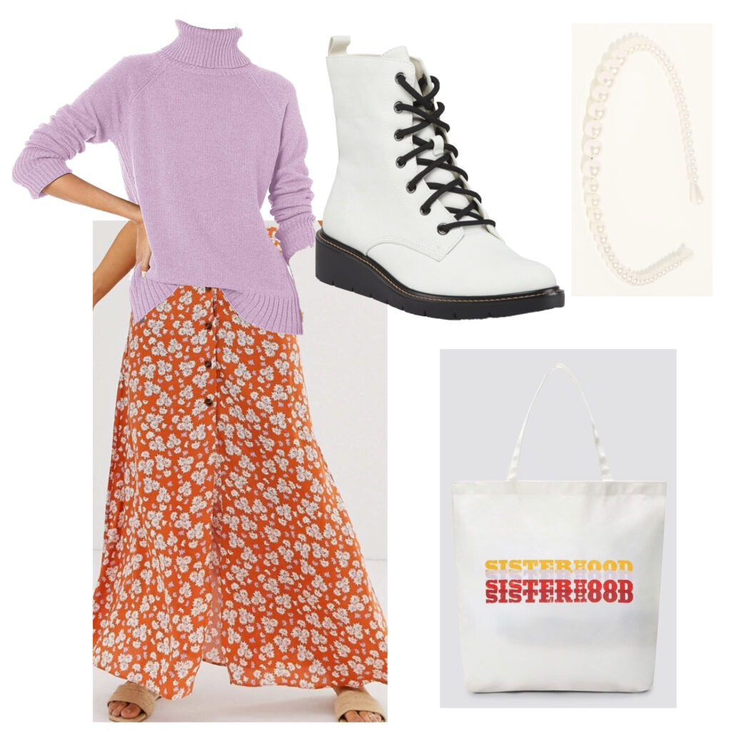 Outfits for fall activities: What to wear apple picking or food festival - outfit with boots, purple turtleneck, printed skirt, tote bag, headband