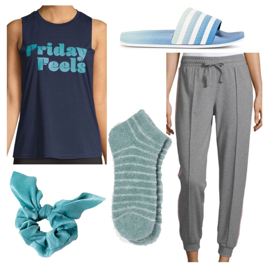 Outfits for fall activities: Movie night outfit with sweatpants, cozy socks, slippers, tank top, scrunchie