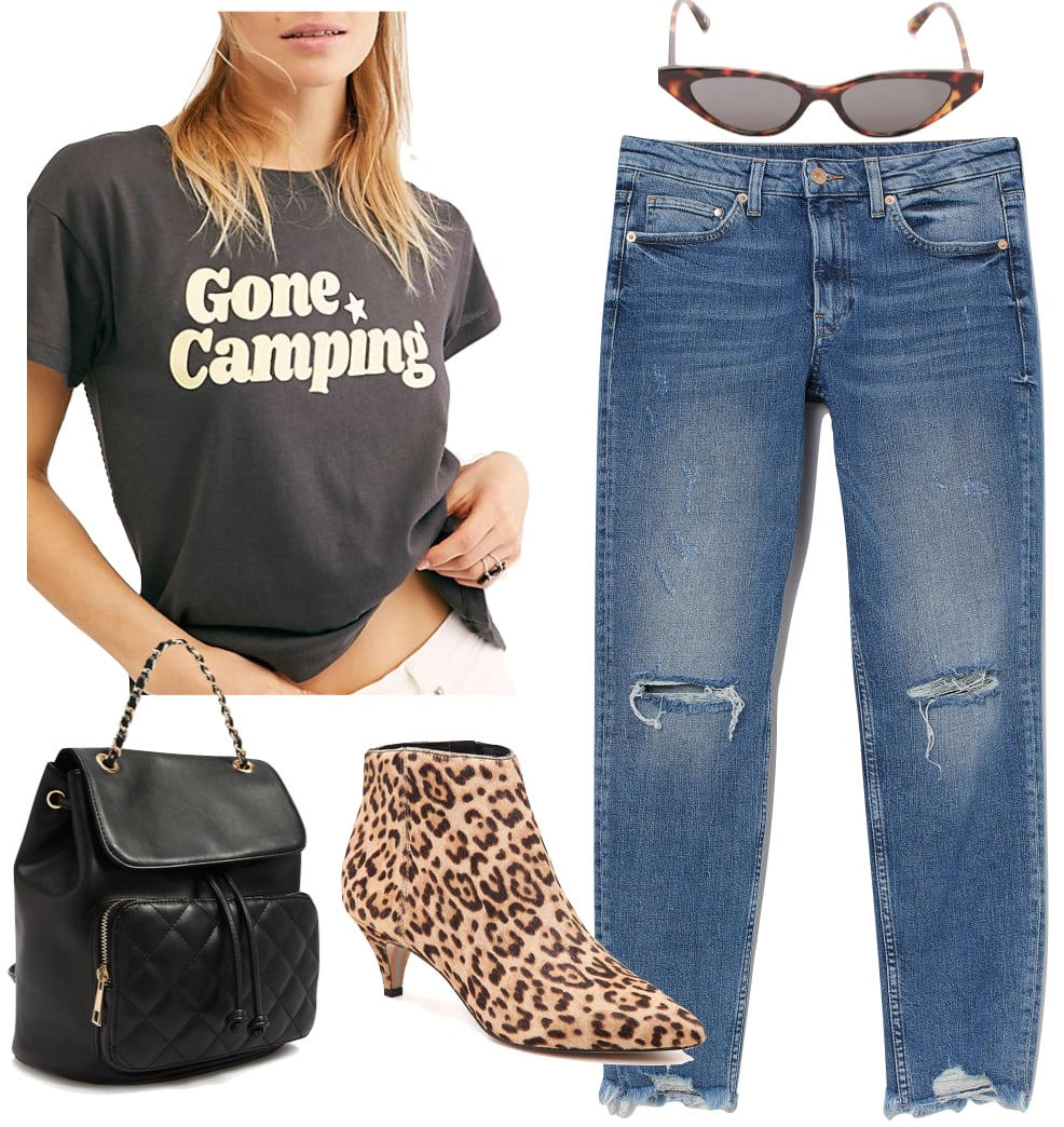 Hilary Duff Outfit #1: graphic print t-shirt, straight leg jeans, cat eye sunglasses, black chainlink strap backpack, and leopard print kitten heel ankle booties