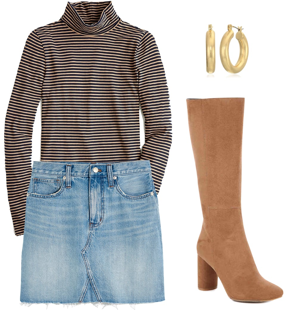 Hilary Duff Outfit #2: light wash denim skirt, navy and beige turtleneck top, small chunky gold hoop earrings, and tan knee high boots