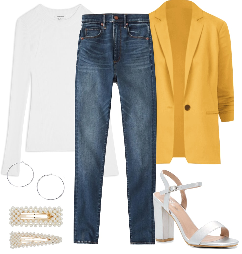 Hilary Duff Outfit #3: white ribbed crewneck top, medium wash skinny jeans, yellow blazer, silver hoop earrings, pearl hair clips, and silver platform sandals