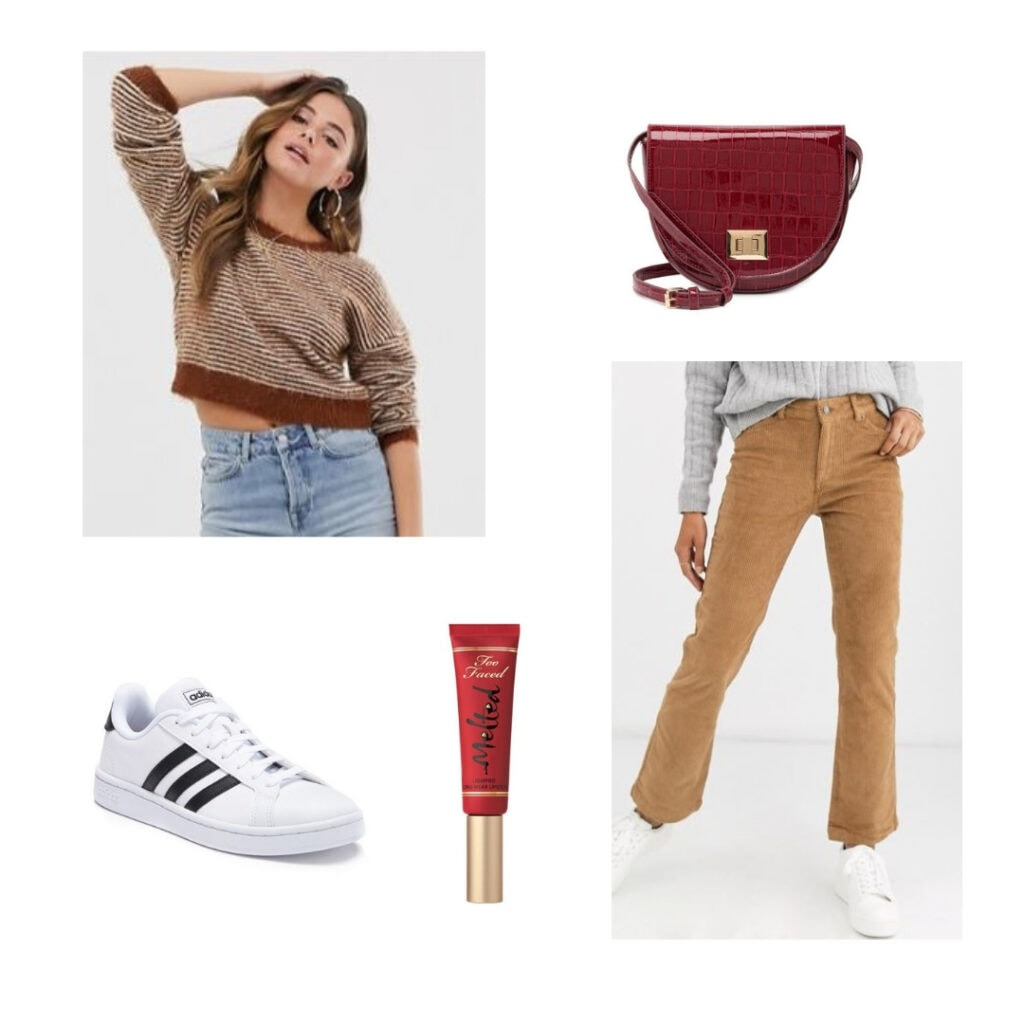 Kit Kat outfit; brown and white sweater, brown pants, red purse, red lipstick, white sneakers.