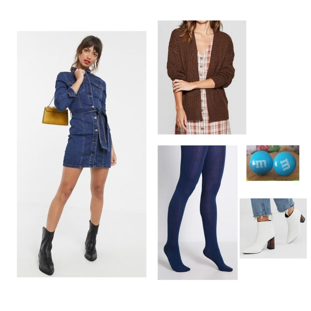 M&M's outfit; blue denim dress, blue tights, brown sweater, white boots, M&M candy earrings.