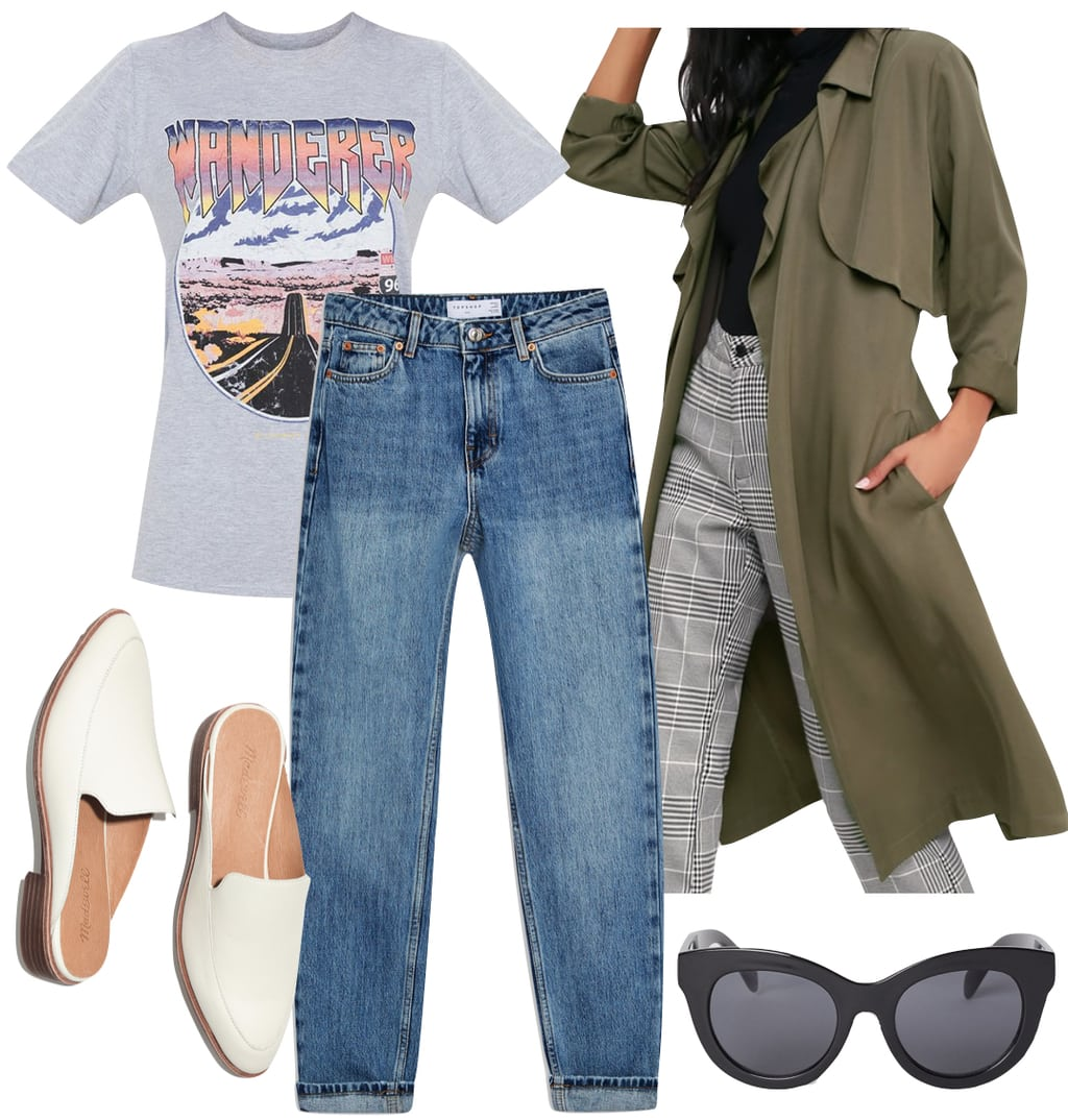 Olivia Culpo Outfit: gray graphic print t-shirt, olive green trench coat, straight leg jeans, white mules, and black oversized sunglasses