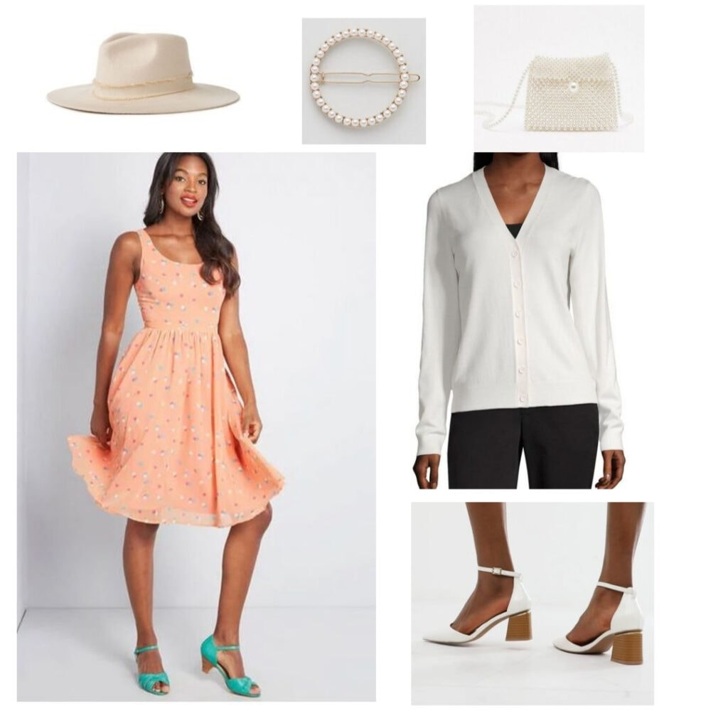 Rocky Horror Picture Show outfits: A-line pink dress, white cardigan, hat, circle hair clip, pearl purse, white heels.