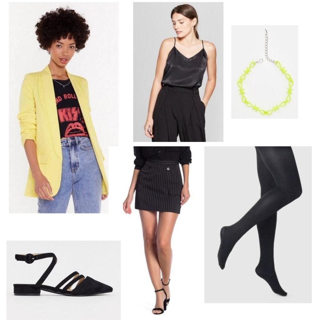 Blazer, top, choker, skirt, tights, and flats.