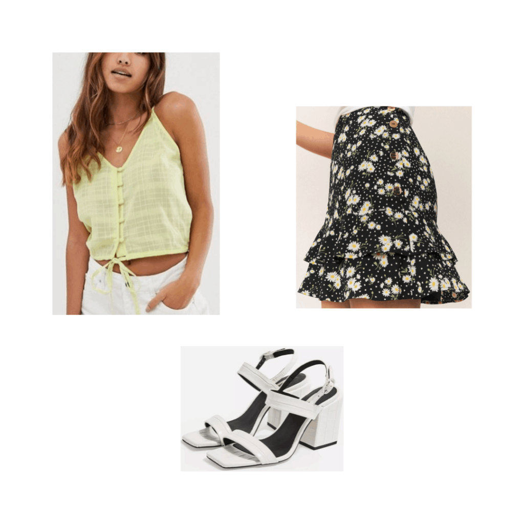 South Korea packing list outfit idea with floral skirt, yellow top, white sandals