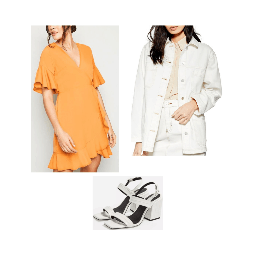South Korea packing list outfit idea with orange dress, white oversized denim jacket, white sandals