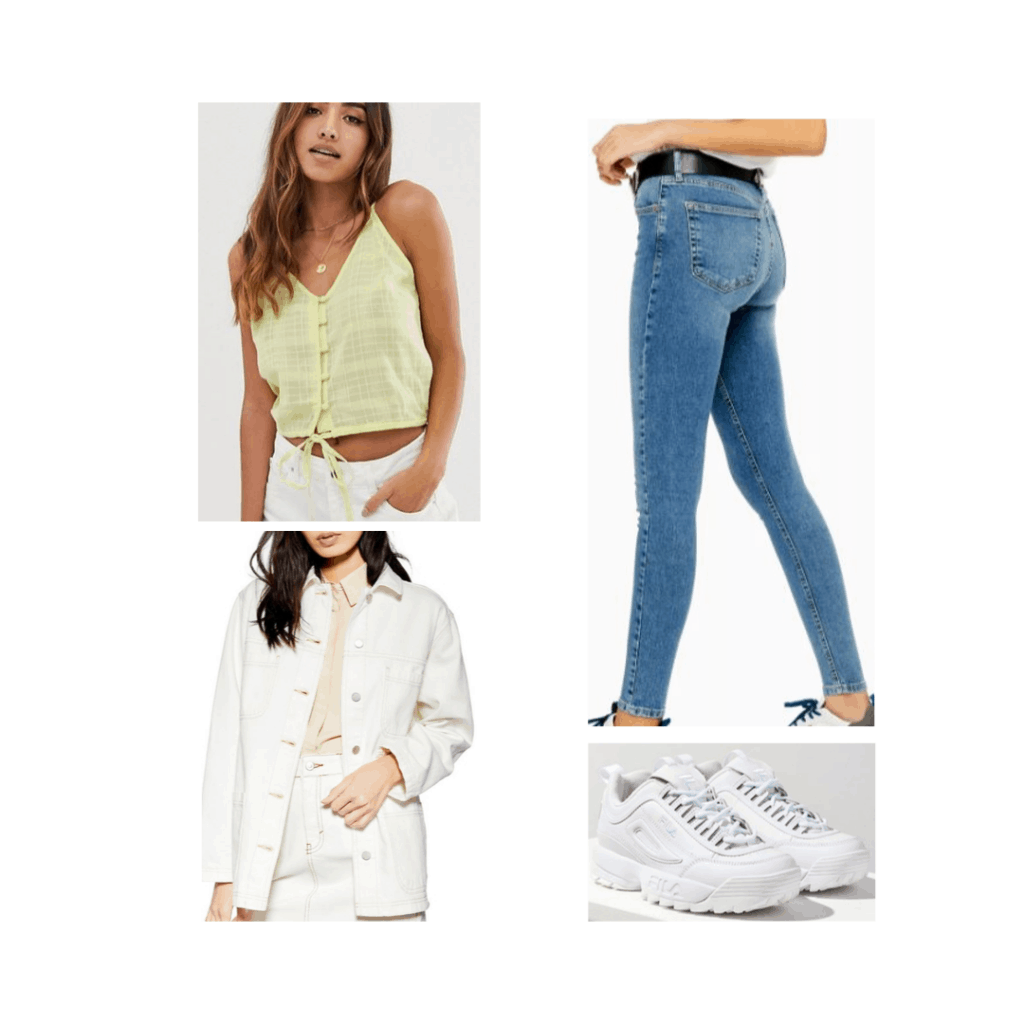 South Korea look for night with jeans, tank, oversized jacket, sneakers