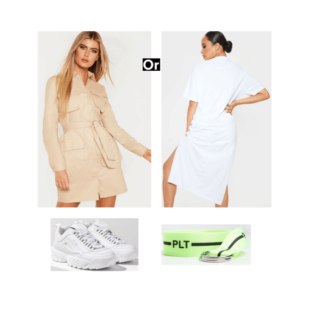 Cute outfit ideas for vacation - south korea packing list outfit idea with white dress, sneakers, neon belt