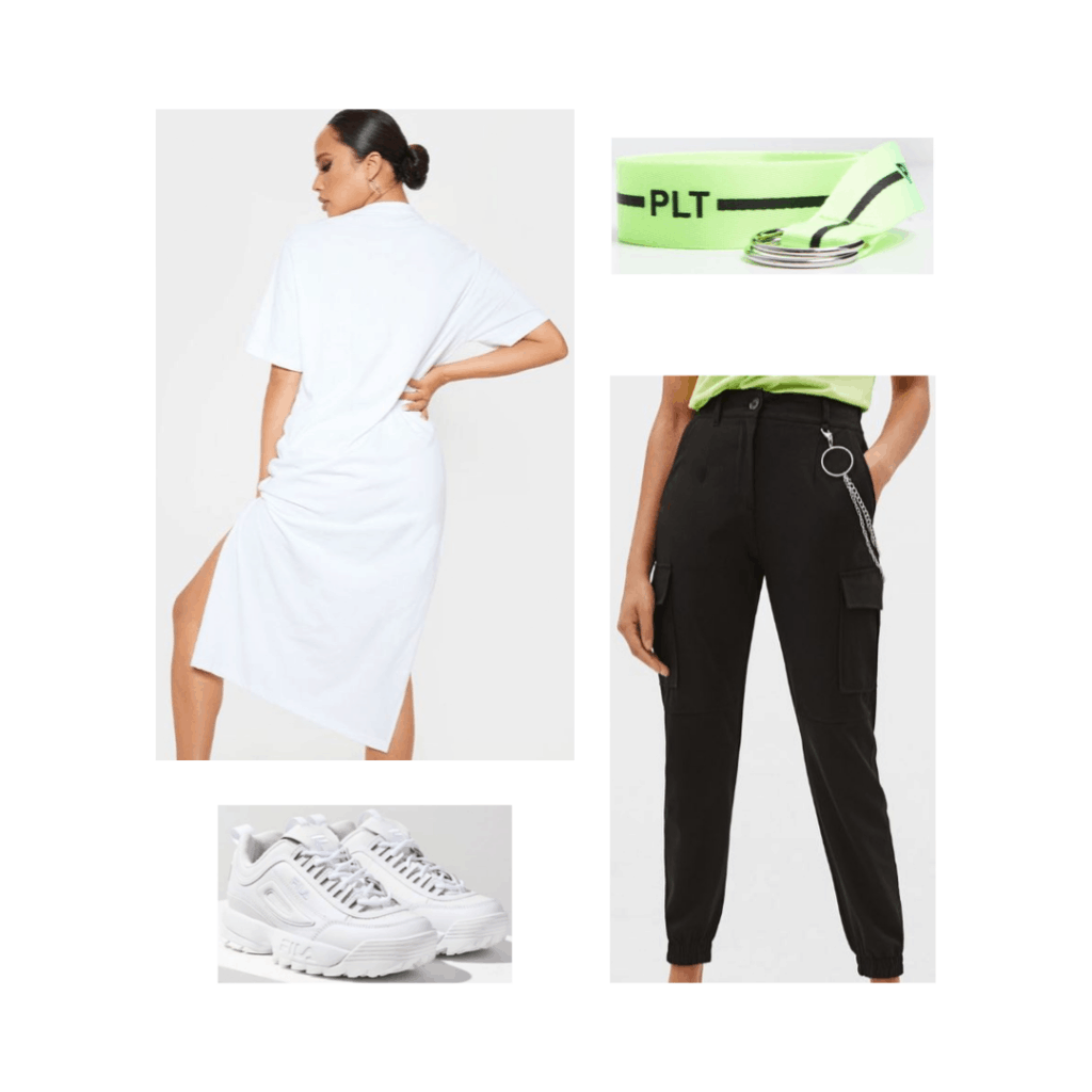 Streetwear inspired outfit for Seoul with white sneakers, black pants, neon belt