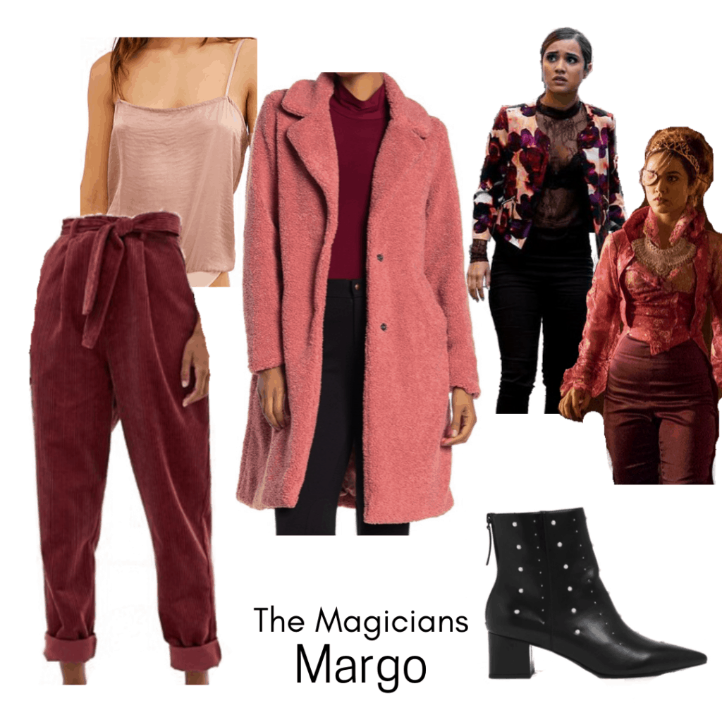 Outfits inspired by the Fantasy genre: Margo from The Magicians Outfit with pink teddy coat, corduroy pants, pink bodysuit, black booties