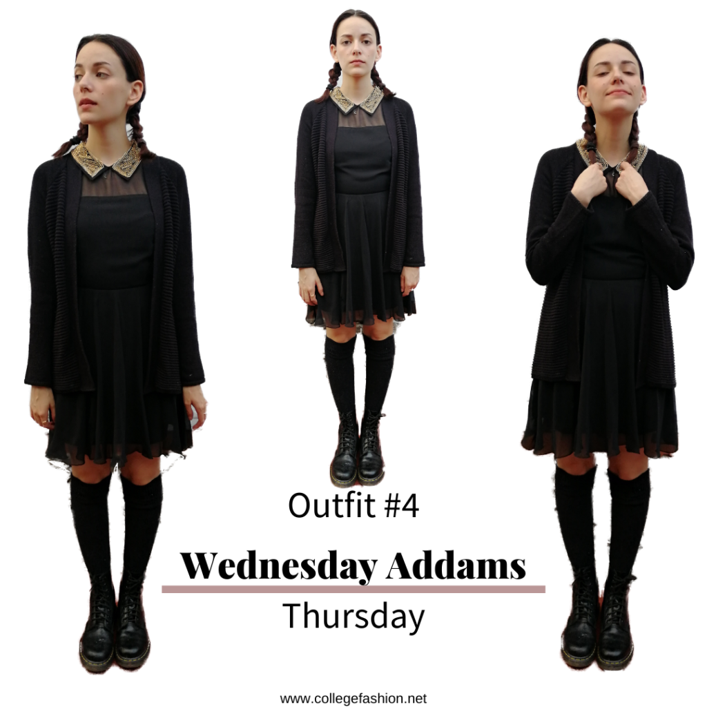 I dressed like Halloween Characters for a week Wednesday Addams