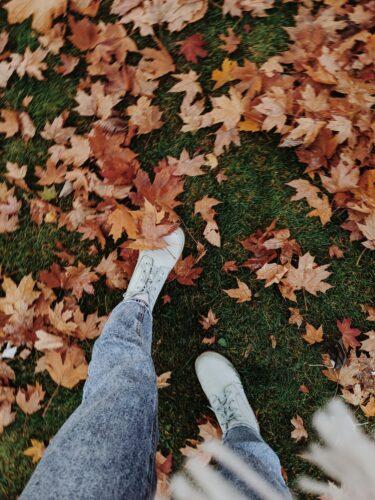 Walking on fallen leaves.