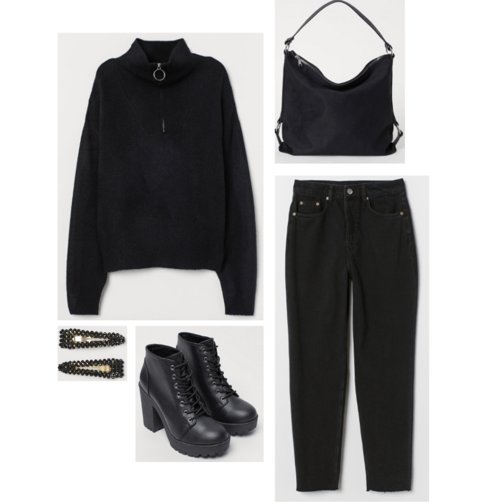 The Breakfast Club fashion - all black outfit inspired by Allison with black zip-up, black jeans, black chunky heel boots, black hair clips