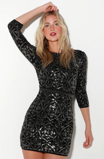 Black sequin brocade dress from Lulus